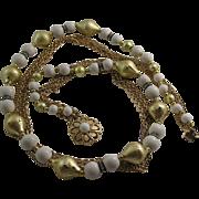 Beautiful Vintage Goldtone with White beading Rhinestones Five Strand Necklace