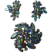 Sherman Pale Blue Aurora Borealis Dimensional Brooch and Earrings