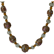 Delicate Clear Venetian Glass Wedding Beads Necklace