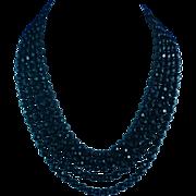 Vintage Five Strand Jet Black Glass Necklace
