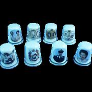 British Royalty Thimbles - St. George's Bone China, Set of Eight