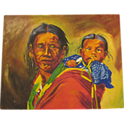 Thomas  Mails Original Painting Native American Indian Mother & Child