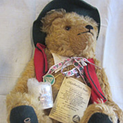 Vintage Herman Mohair Bear Oktoberfest Musical w Stein and Tags Pristine Plays Edelweiss