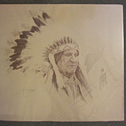 Thomas Mails Listed Print of Indian Native American Chief