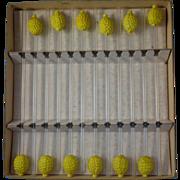 Vintage Set of 12 Glass Lemon Swizzle Sticks in Box Gorgeous Stirrers Straws