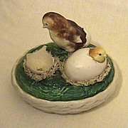 19C Staffordshire Chicks Popping out of Eggs on Nest