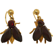 Early Victorian Vauxhall Fly Shaped Dangle Earrings