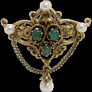 Renaissance Revival Emerald Cabochon and Pearl Brooch-Pendant