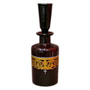 SOLD Bohemian Ruby Glass Apothecary Enameled Jar with Stopper