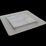 Rene Lalique Rameaux Coupe Carré Frosted Square Glass Bowl