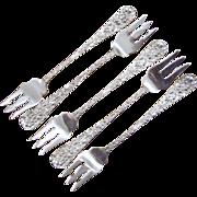 5 Stieff Rose Sterling Silver Cocktail Forks
