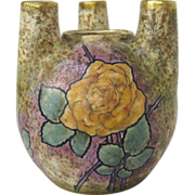 Austrian Amphora Art Nouveau Vase with Rose Decoration