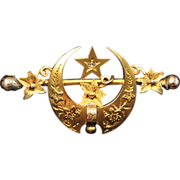 9K Gold Masonic Crescent Moon and Star Brooch or Pin