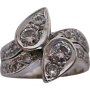 Pear Shaped Diamond By Pass Ring in 14K White Gold