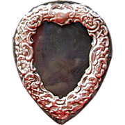 Heart-Shaped English Sterling Silver Repousse Frame