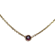SALE PENDING 14K Yellow Gold Set Bezel Natural Ruby Necklace