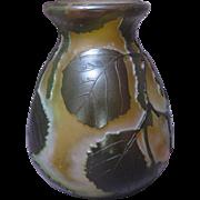 Legras Cameo Art Glass Vase with Leaf Motif
