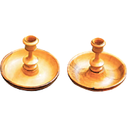 Pair of Beechwood Travel Candle Sticks, Screw Together Into Compact Box