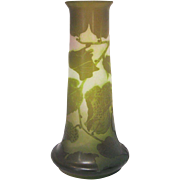 Gallé French 4-Color Cameo Glass Vase with Foliate Decoration