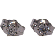 14 K White Gold Small Diamond Stud Earrings