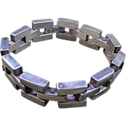 Taxco Sterling Silver Block Hinged Bracelet circa 1930