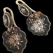 19th C. Victorian Floral Piqué Earrings