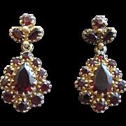 Pear Shaped Bohemian Garnet Earrings 14K Gold