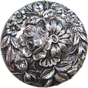 S. Kirk & Son Sterling Silver Floral Repousse Rouge Pot or Pill Box, circa 1890s