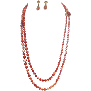 Italian Graduated Red Coral Necklace and Earring Set