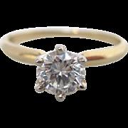 Elegant 14K Gold Round Solitaire Diamond Ring
