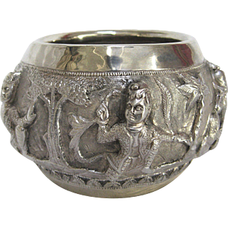 1890s Silver Repoussé Bowl with Figures in Nature