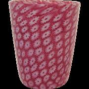 SALE PENDING Vintage Italian Pink Millefiori Glass Tumbler