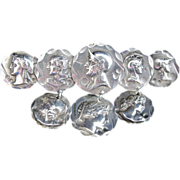 Sterling Silver Medallion  Brooch with Eight Portraits circa 1880