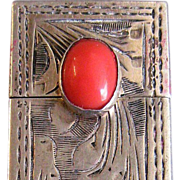 Vintage Italian Silver Lipstick Holder with Light Coral Stone