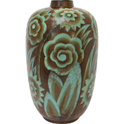 Boch Frerés Art Deco Glazed Pottery Floral Vase, circa 1925