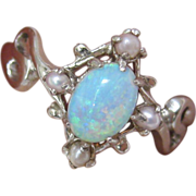 Victorian 14 K White Gold, Opal, and Seed Pearl Ring