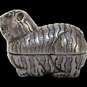 Thai Silver Repoussé Tiger Charm Box