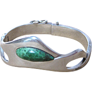 Vintage Erika Hult de Corral Taxco Mexican Sterling Silver Turquoise Bracelet