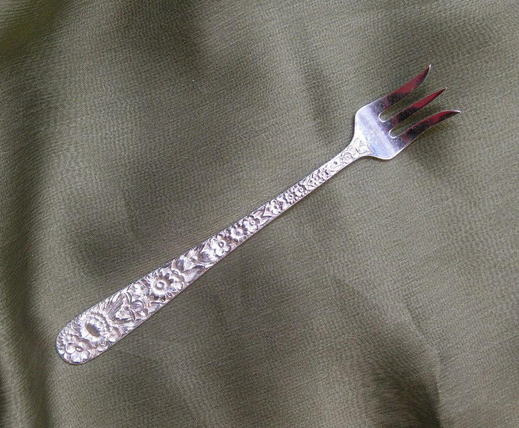 Kirk & Son Sterling Silver Cocktail Fork in the Repousse Pattern 1828