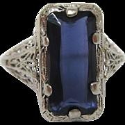 14K White Gold Art Deco Filigree Iolite Ring