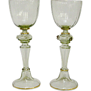 A Pair of Moser Green and Gold Drinking Glasses