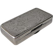 Rare French Silver (800) Match Safe with Castle Top, circa 1870s
