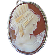 Shell Cameo Pendant or Pin with 800 Silver Frame