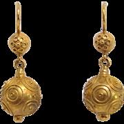 18K Gold Etruscan Revival Ball Dangle Earrings