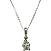 Pear Shaped Diamond in Platinum Setting on a 14 K White Gold Chain