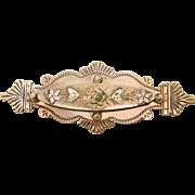 Victorian Brass Floral Brooch