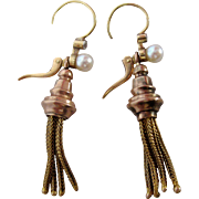Victorian Pearl and Diamond, 14K Rose Gold, Yellow Gold Tassel Earrings