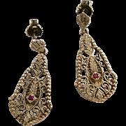 Sterling Silver filigree Ruby Earrings