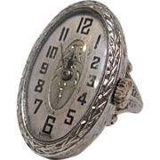 Art Deco 18K White Gold Watch Ring