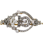 Diamond and Pearl 14 Karat White and Yellow Gold Bangle Bracelet